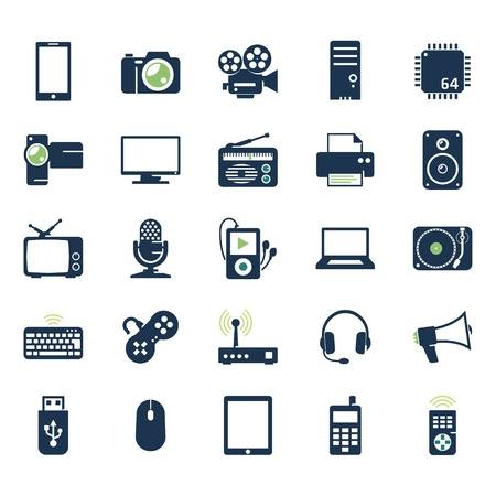 portable audio: Electronics and gadgets icons set Illustration