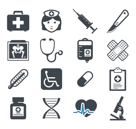 injectie: Geneeskunde pictogrammen set