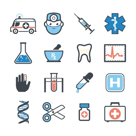Ambulance icons set color Vector