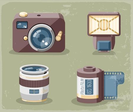 Retro photo equipment icons Stock Vector - 20872536