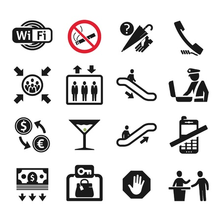 Public places Information signs icons set Vector