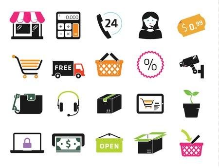 cash box: Shopping icons set Illustration