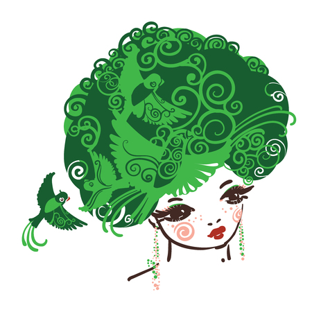 natural beauty: Girl with the curly volume hairs full of birds. Symbol of Nature and green living.