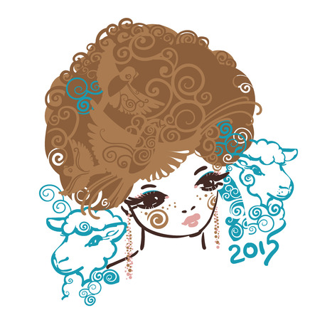 Girl with the curly volume hairs and two sheep. A symbol of Year 2015 Vector