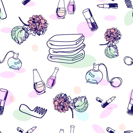 Hand drawn cosmetics, seamless pattern Vector