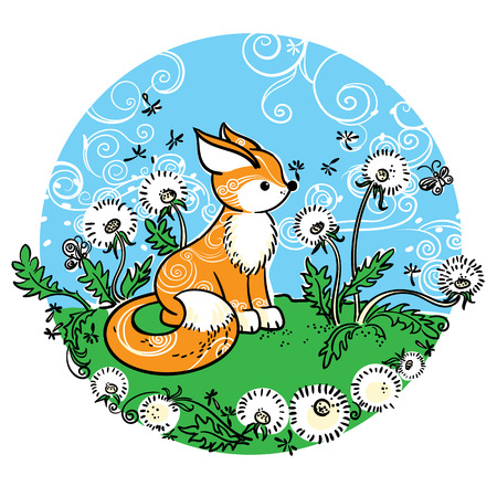 snouts: Drawing of little fox on the meadow