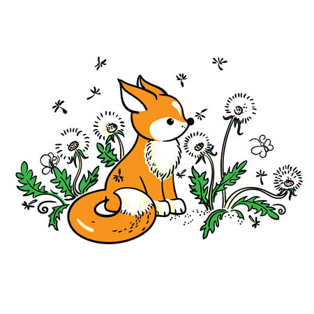 snouts: Drawing of baby fox and dandelions