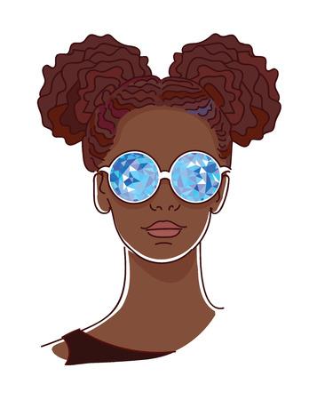 Giovane donna afro con gli occhiali caleidoscopico blu Archivio Fotografico - 33952805