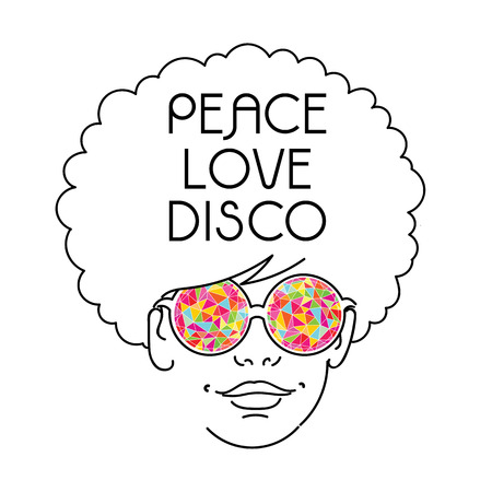 disco girls: Drawing of girl with afro hairs and kaleidoscopic glasses - Symbol of 70s