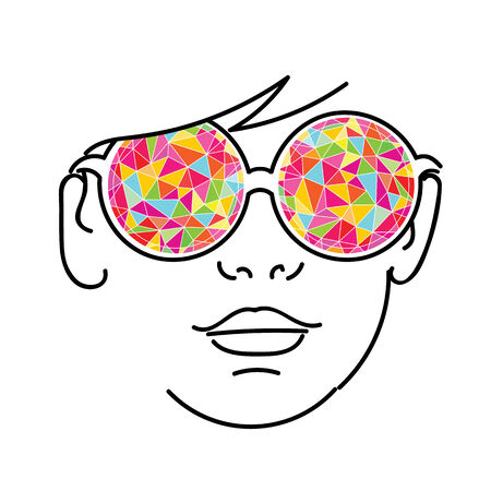 abstract portrait: Face with colorful kaleidoscopic glasses Illustration