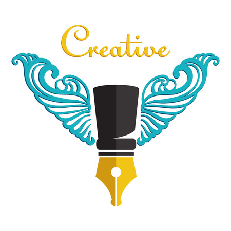 Winged pen  - cymbol of creativity