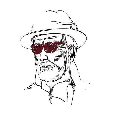 old man beard: Drawing of aged man, gentlemen