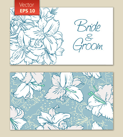 lilium: Greeting or invitation card template with white flowers. Front and back Illustration