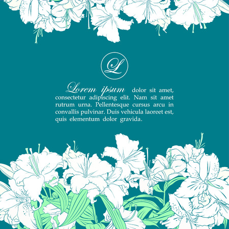 obituary: Card template with white lilies