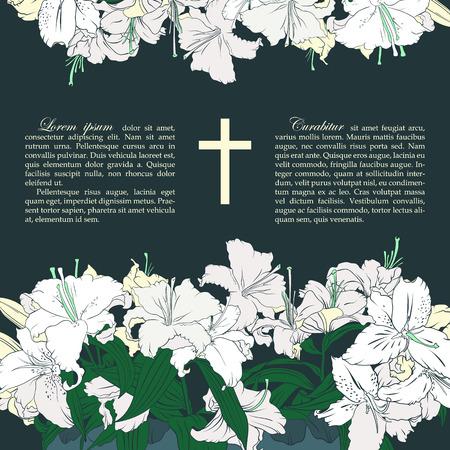 memorial cross: Vector tarjeta de funeral