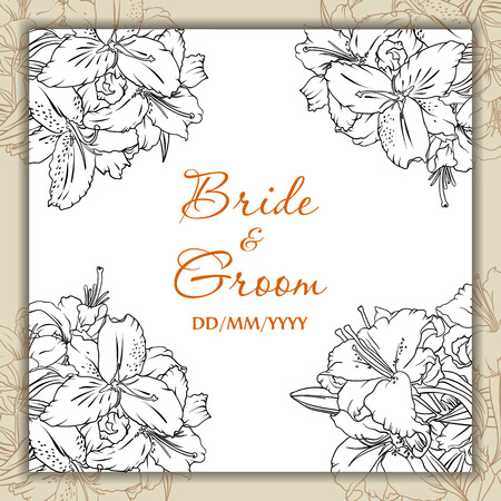 lilium: Wedding day card with lilies Illustration