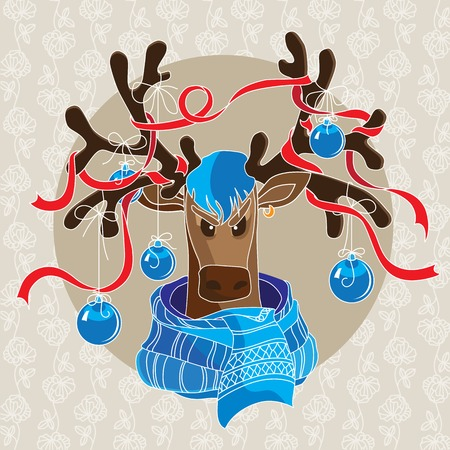 antlers: Christmas card with reindeer in scarf and decorated antlers