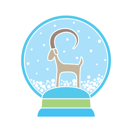 snowball: Abstract drawing of glass snowball with goat - symbol of 2015