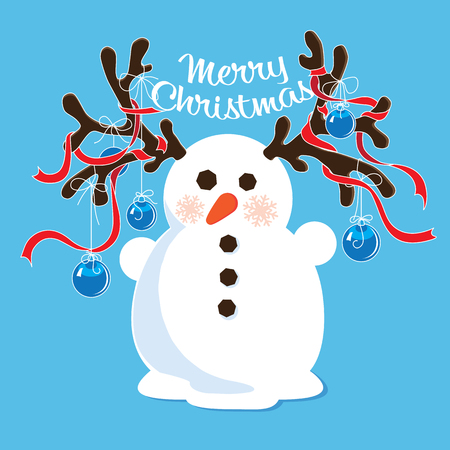 Cartoon snowman with decorated antlers Vector