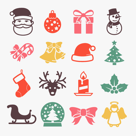 christmas tree ball: Cute christmas icons set. Color