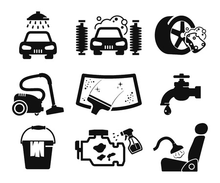 asiento coche: Lavado de coches y coches de colección de iconos de servicio