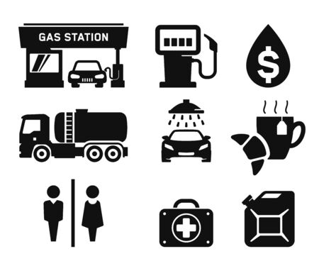 fuel pump: Gas station and Fuel pump icons set 01 Stock Photo