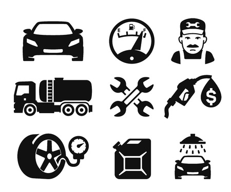 truck repair: Gas station and Fuel pump icons set 02