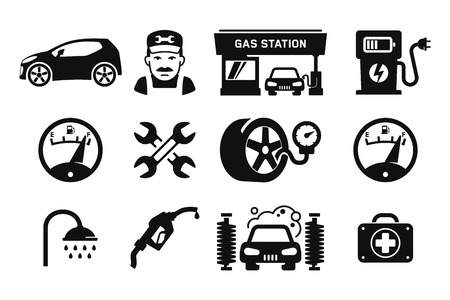 Gas station and Fuel pump icons set 03