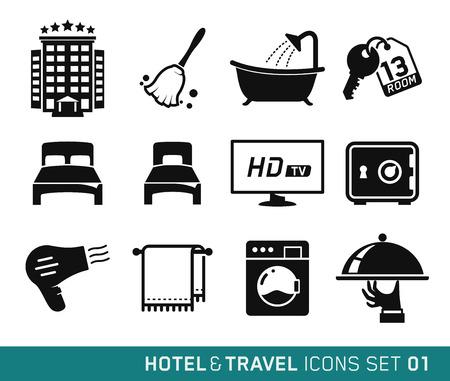 ホテルや旅行のアイコン セット 01  イラスト・ベクター素材