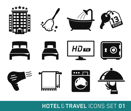 Hotel and Travel icons set 01 Çizim