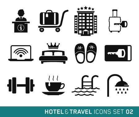 bagagli: Hotel e viaggi Set di icone 02 Vettoriali