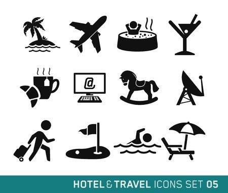 ホテルや旅行のアイコン セット 05  イラスト・ベクター素材