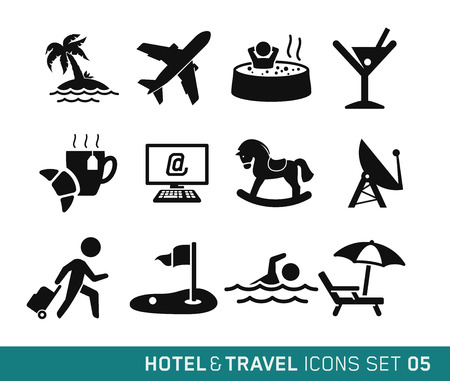 Hotel and Travel icons set 05 Vector