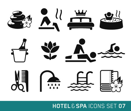 spa stones: Hotel and Travel icons set 07 Illustration