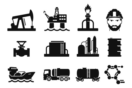 camión cisterna: Iconos de gas y petróleo Set 01