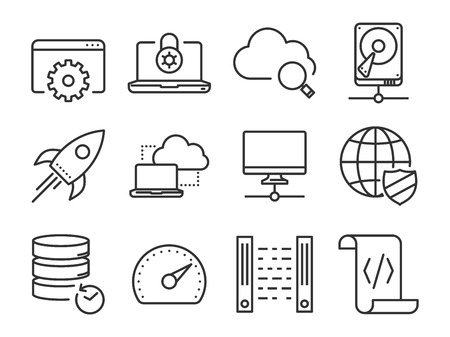 data center: Data and Networking icons set. Line series Illustration