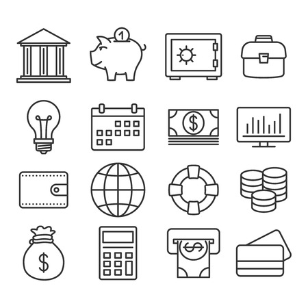 dollar bag: Finance icons. Vector Line set