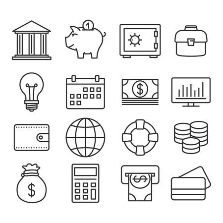 Finance icons. Vector Line set