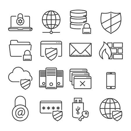 business center: Information technology security icons collection of computer and online safety isolated vector illustration Illustration