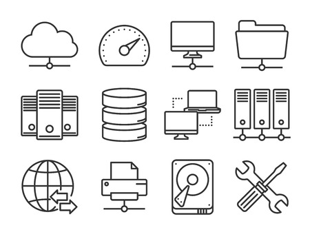 database server: Internet and network icons set