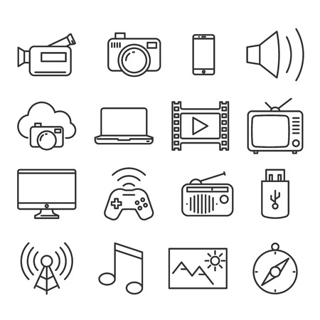 Multimedia devices and symbols icons set