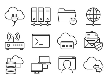 Networking and telecommunications icons set