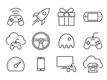 Video game icons set. Plain line vector