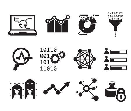 Data analytic icon set BW Illustration