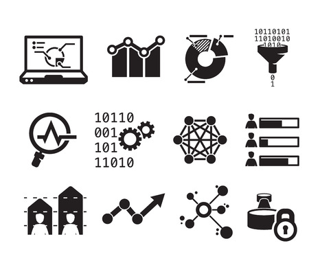 Data analytic icon set BW Illustration