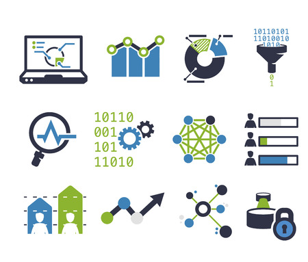 result: Data analytic icon set. Flat design