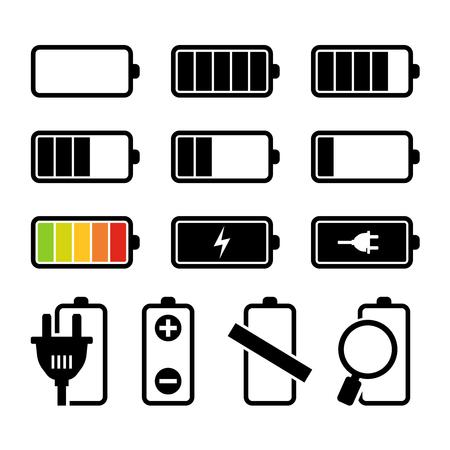 capacity: Battery charging icons set BW