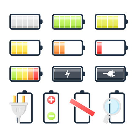 Battery charging icons collection. Flat design Vector