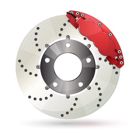 Car brake disc with caliper. Shiny design.