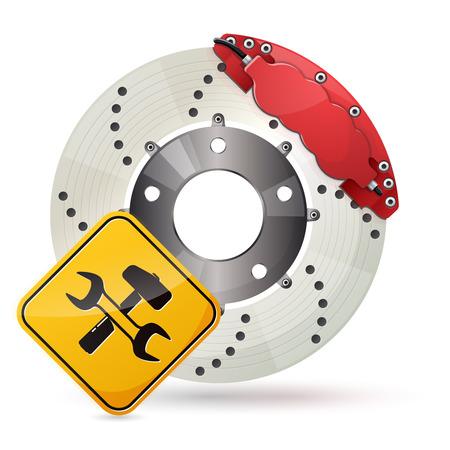 brake pad: Car brake disc service icon Illustration